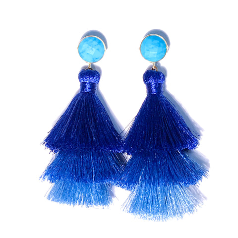 HE 670 Capri Triple Tassel Earrings - Turquoise Ocean Ombre