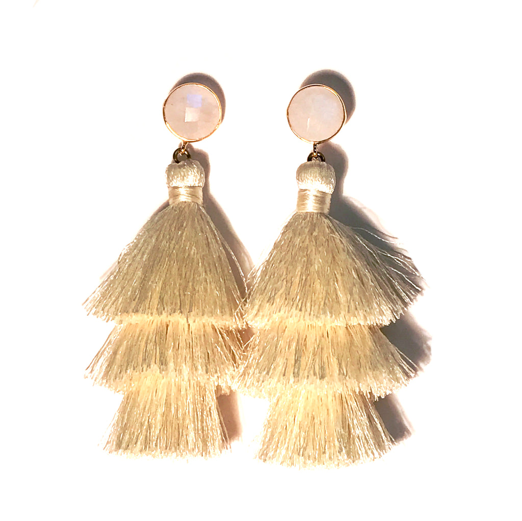 HE 670 Capri Triple Tassel Earrings - Moonstone