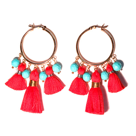 HE 601 Cabana Tassel Hoop Earrings - Orange & Turquoise