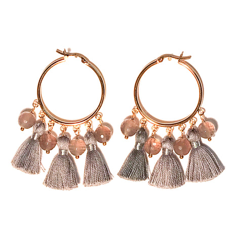 HE 602 Cabana Tassel Hoop Earrings - Gray Agate