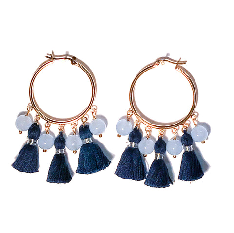 HE 602 Cabana Tassel Hoop Earrings in Navy Blue & Periwinkle
