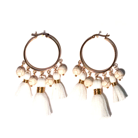 HE 601 Cabana Tassel Hoop Earrings - White Howlite
