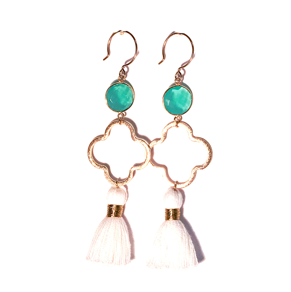 HE 659 Megan Tassel Quatrefoil Drop Earrings in Chalcedony