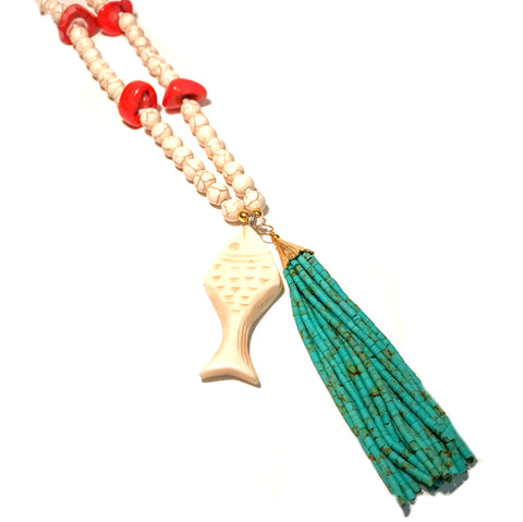 Fish Tassel Necklace with Coral