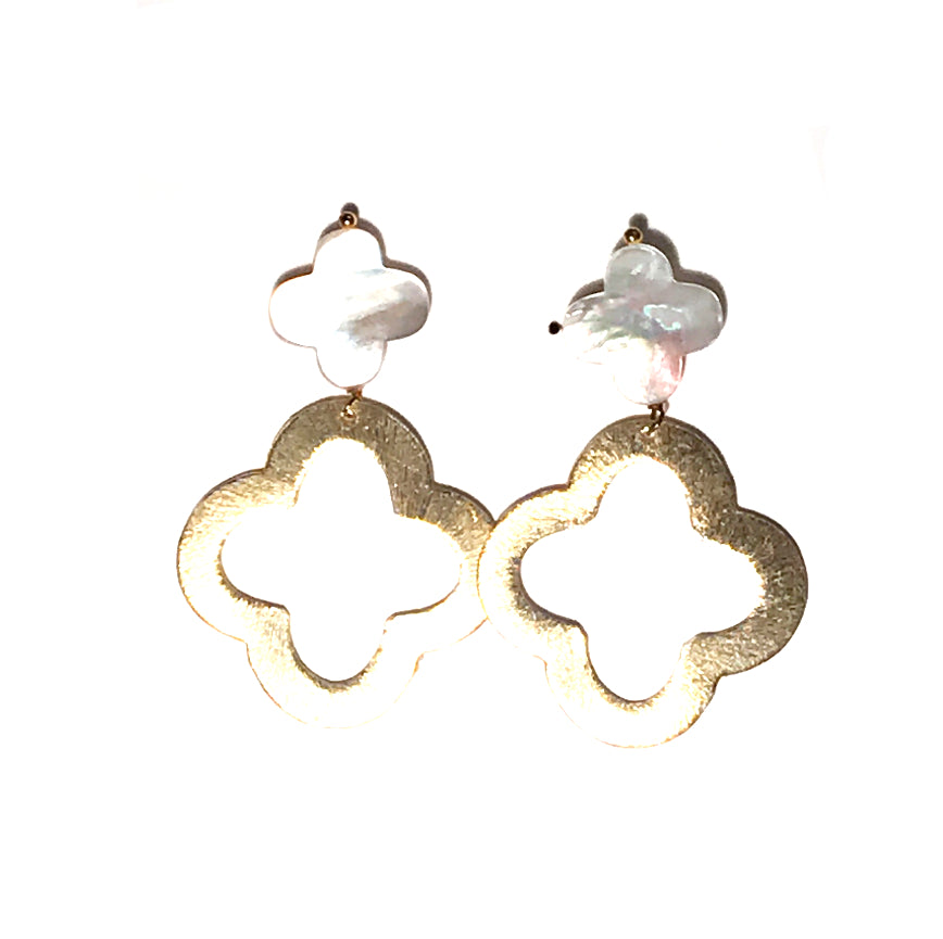 HE 001 Mother of Pearl Quatrefoil Earrings