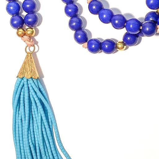 OLIVIA Tassel Necklace in Royal Blue & Turquoise