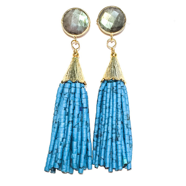 Cha Cha Cha Tassel Earrings, Labradorite & Azure Blue