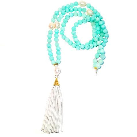 WILLOUGHBY Necklace - 5-Pearl, Aqua Jade, White Tassel