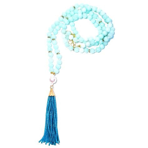 MADISON Necklace - Single Pearl, Aqua Jade, Teal Tassel