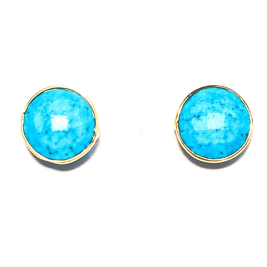 Gumdrop Gemstone Stud Earrings, Turquoise