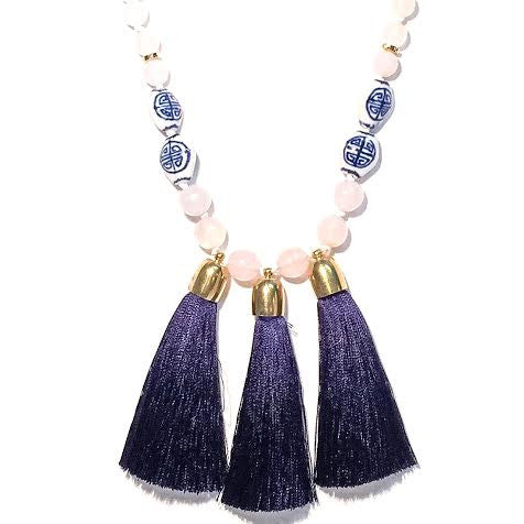 Triple Tassel Necklace, Blue & White