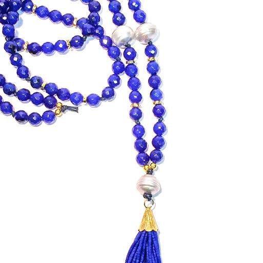 WILLOUGHBY Necklace - 5-pearls on Blue Agate