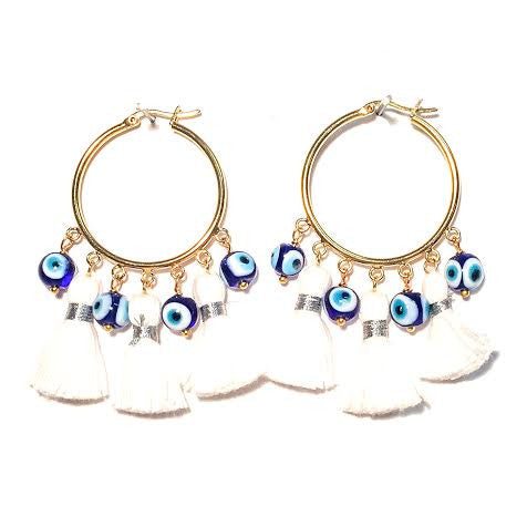 Cabana Tassel Hoop Earrings, Evil Eyes & White