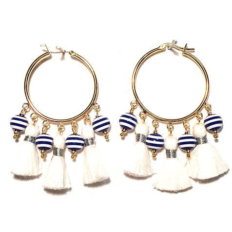 Cabana Tassel Hoop Earrings, Stripes & White (Medium)