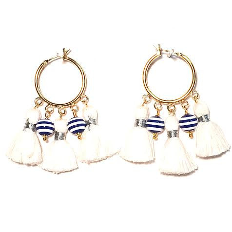 Cabana Tassel Hoop Earrings, Stripes & White (Small)