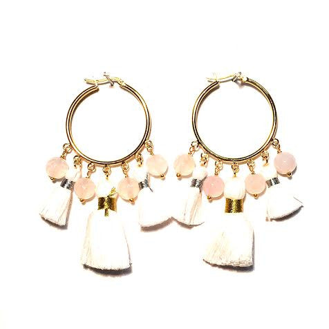 Cabana Tassel Hoop Earrings, White