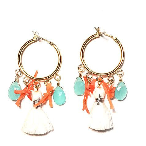 Cabana Tassel Hoop Earrings, Coral & Chalcedony