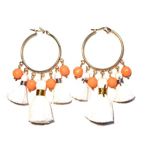 Cabana Tassel Hoop Earrings, White & Coral