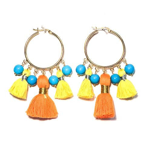 Cabana Tassel Hoop Earrings, Yellow, Orange & Turquoise