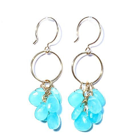 CLAUDIA Earrings - Briolette Clusters on Loop in Chalcedony