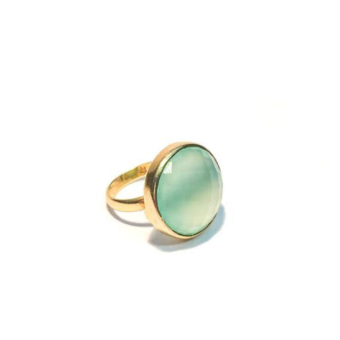 Chalcedony Faceted Round Ring