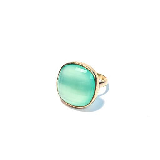 Chalcedony Faceted Smooth Square Ring