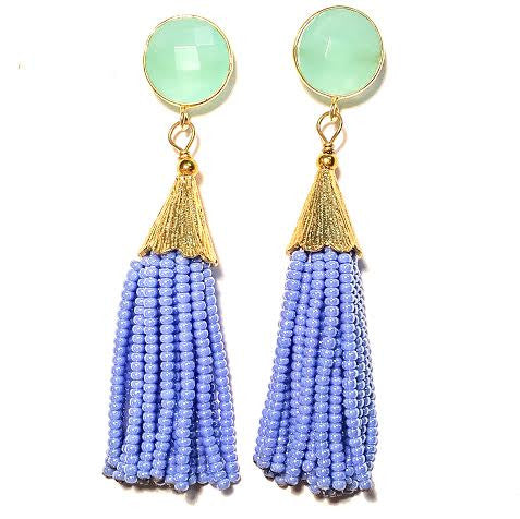 Cha Cha Cha Tassel Earrings, Chalcedony & Lilac