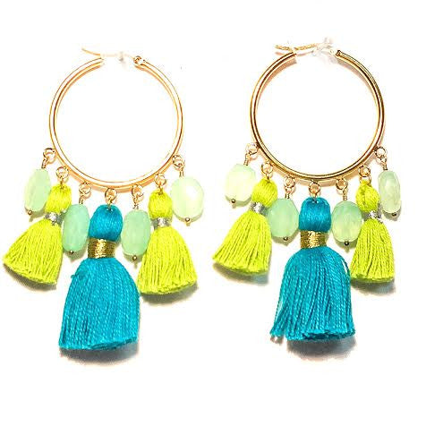 Cabana Tassel Hoop Earrings in Blue