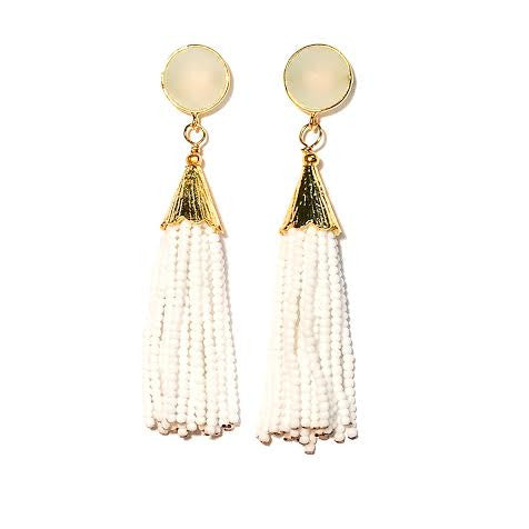 Cha Cha Cha Tassel Earrings, Chalcedony & White