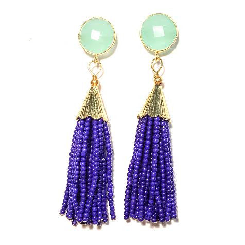 Cha Cha Cha Tassel Earrings, Chalcedony & Royal Blue
