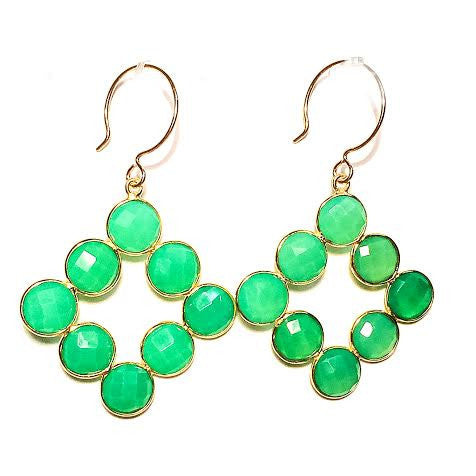 Bezel Set Chrysoprase Earrings