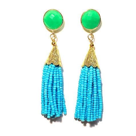 Cha Cha Cha Tassel Earrings, Chrysoprase & Turquoise