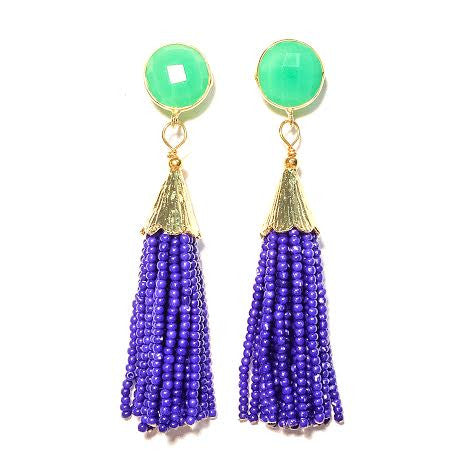 Cha Cha Cha Tassel Earrings, Chrysoprase & Royal Blue