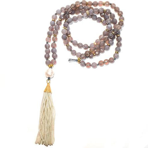 MADISON Necklace - Single Pearl on Gray Agate
