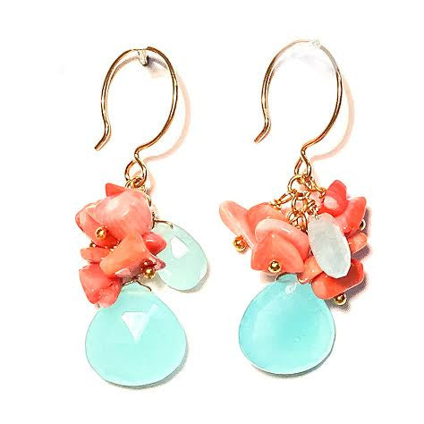 VIVIAN Earrings - Coral & Chalcedony Clusters