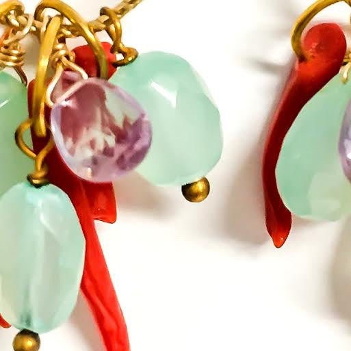 CLAUDIA Earrings in Coral & Chalcedony
