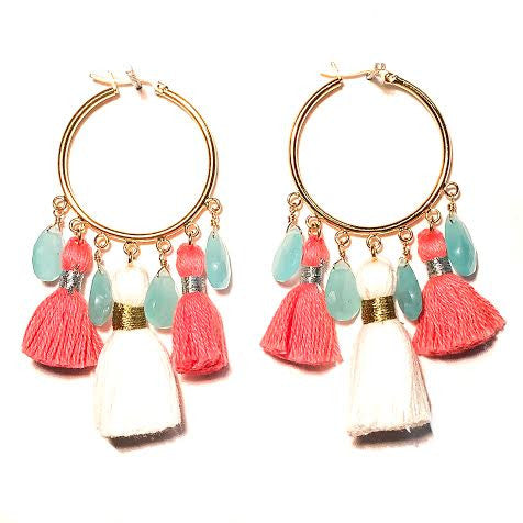 Cabana Tassel Hoop Earrings, Coral