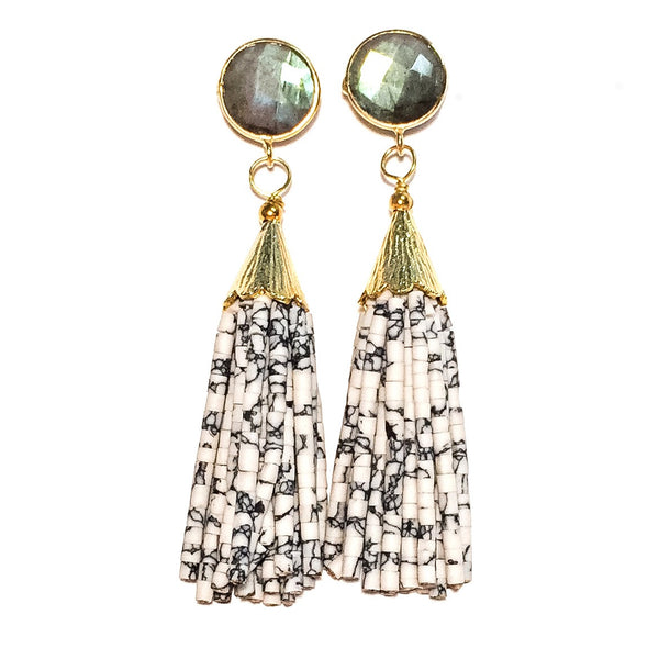 Cha Cha Cha Tassel Earrings, Labradorite & White Chocolate Chip