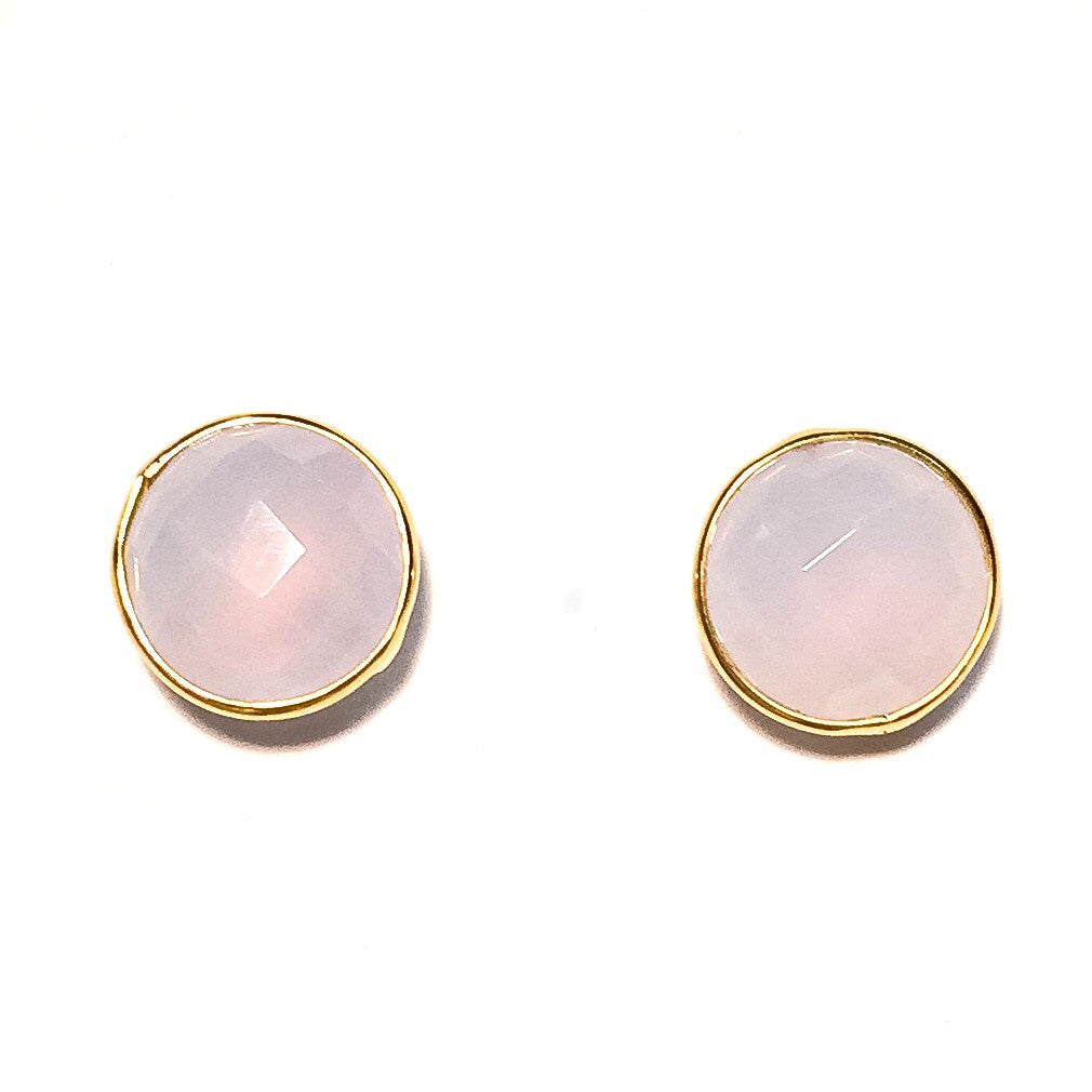 Gumdrop Gemstone Stud Earrings, Lavender Chalcedony