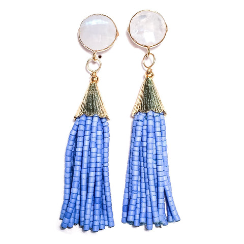 Cha Cha Cha Tassel Earrings - Rainbow Moonstone & Jacaranda Blue
