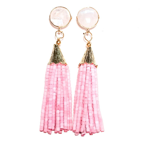 Cha Cha Cha Tassel Earrings - Rainbow Moonstone & Pink Champagne