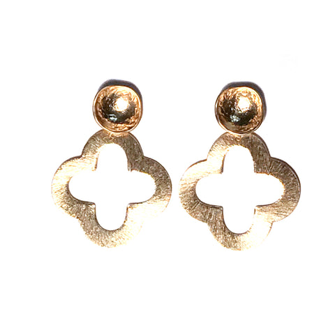 All Gold Quatrefoil Stud Earrings