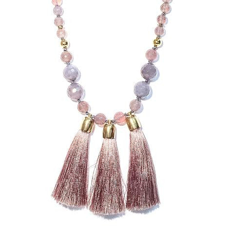 Triple Tassel Necklace, Gray Agate