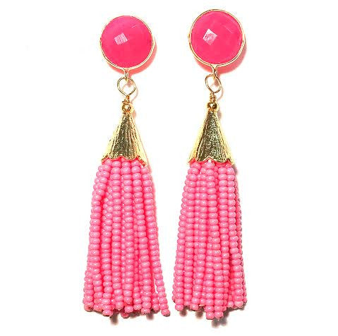 Cha Cha Cha Tassel Earrings, Hot Pink!