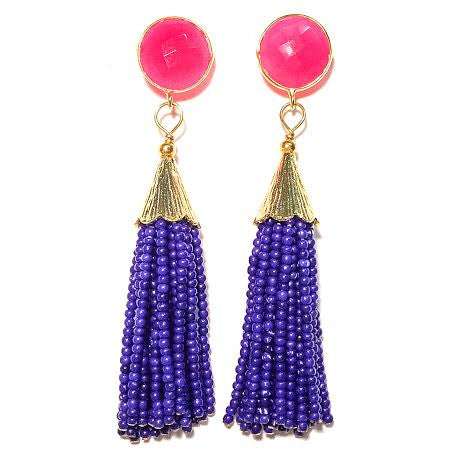 Cha Cha Cha Tassel Earrings, Hot Pink Chalcedony & Royal Blue