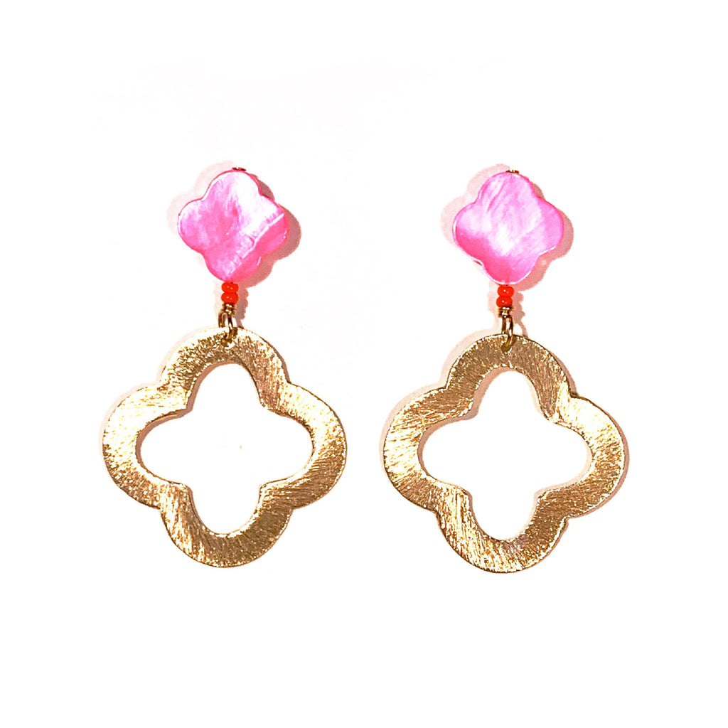 Pink Mother of Pearl Quatrefoil Earrings