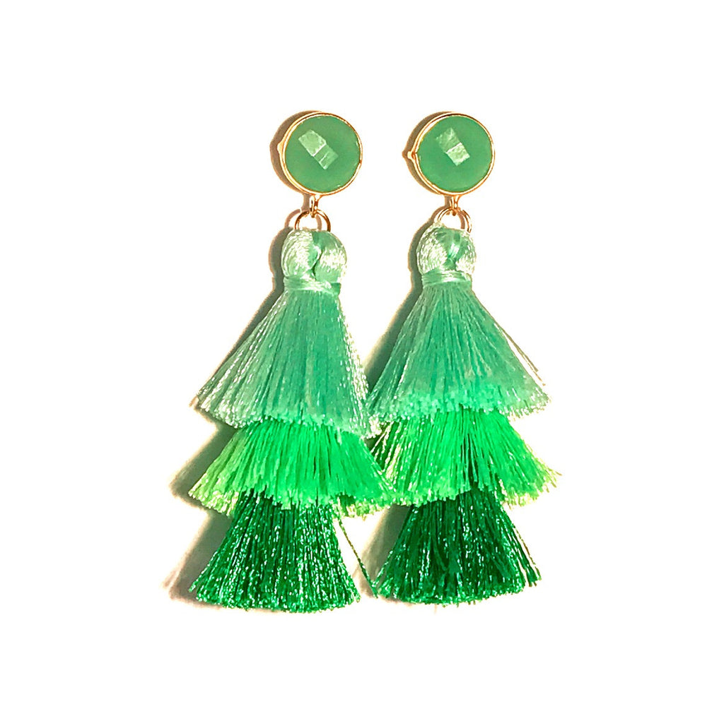 HE 670 Capri Triple Tassel Earrings in Green Ombre