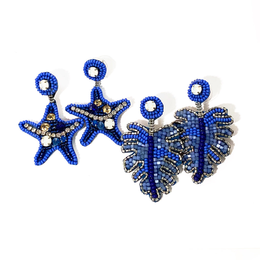 Monstera Leaf or Starfish Beaded Embroidered Earrings - Blue