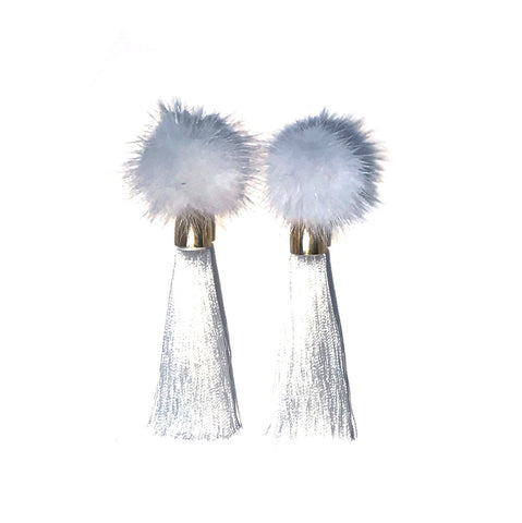 HE 1700 Cozytime Mink Tassel Earrings in White