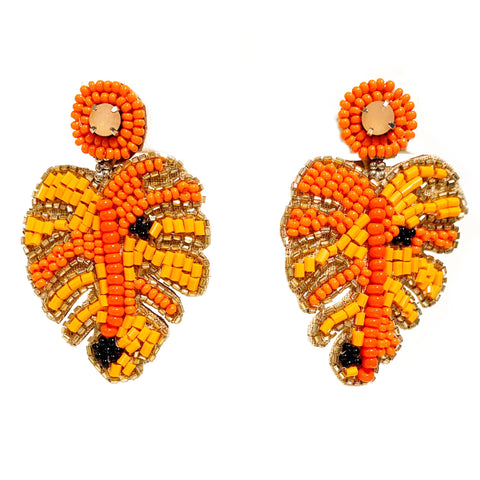 Monstera Leaf Embroidered Earrings in Orange